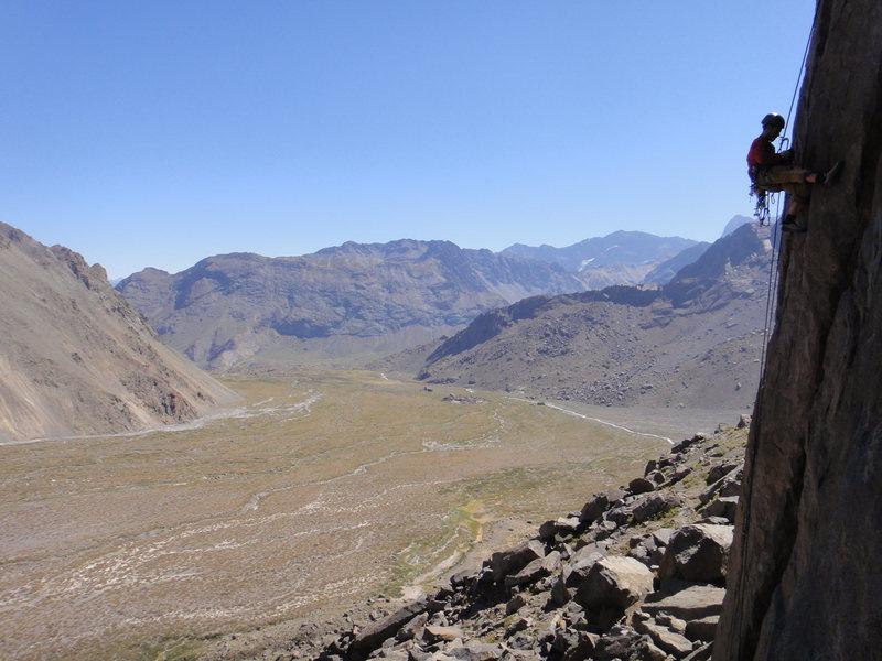 Rock Climbing Photo: Descending the 5.9 handcrack