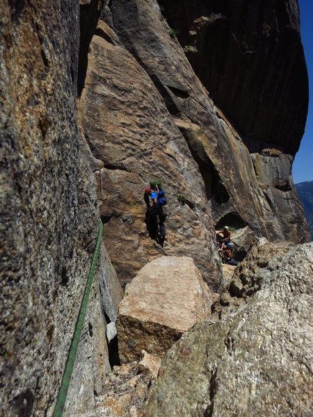 Dominic following the P5 traverse. <br> <br> Photo: Corey Gargano