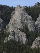 Rock Climbing Photo: The route as seen from the main approach trail.  T...