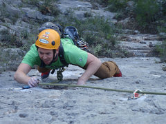 Rock Climbing Photo: Cooper following pitch 4 on the FA.