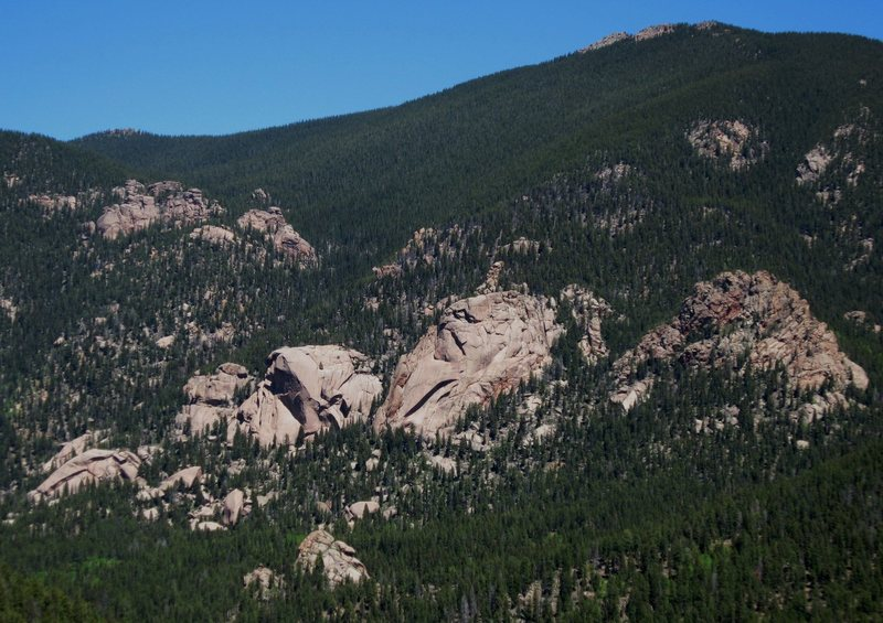 Wigwam Dome with The Sun and The Moon as seen from Bush League Buttress. Photo 5/28/12 by Tony B.