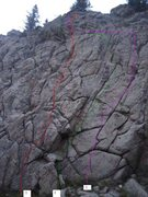 Rock Climbing Photo: Beta photo for the known routes that have been lea...