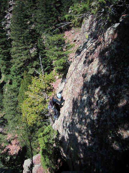 Rock Climbing Photo: Kat A. follows Maverick on 4/29/12. Photo by Tony ...