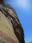 Rock Climbing Photo: Kat A just past the thin crux on Psycho Pigeon (5....
