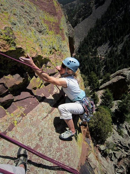 Kat A traverses to the first belay on Upper Psycho Pigeon. March 2012.