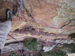 Rock Climbing Photo: Kat A starts to follow P1 of Over The Shoulder Stu...
