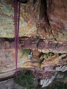 Rock Climbing Photo: Kat A looks up into the steep center section while...