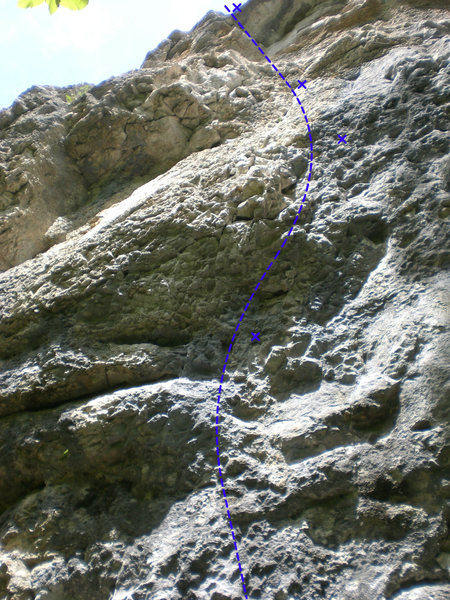 This picture shows how the route goes from the 2nd through 5th bolts. You can't see the upper section of the route from the ground.