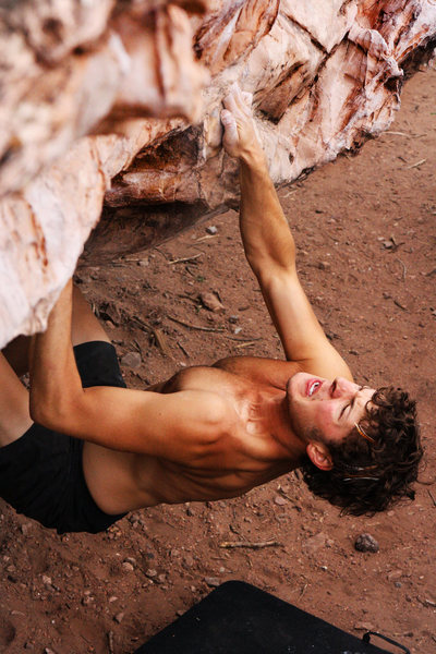 Rock Climbing Photo: Keep it tight! Tackling the crux moves off the gro...
