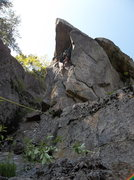 Rock Climbing Photo: Ryan Barber on FA.  Check out the plumb line of th...