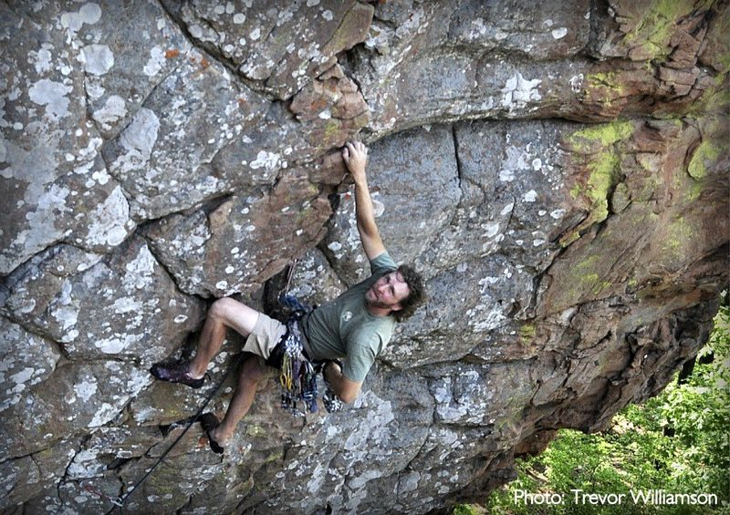 Rock Climbing Photo: Chalking up after the technical crux and preparing...