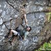 Chalking up after the technical crux and preparing for the final pump!<br> <br> www.verticalvoyages.com
