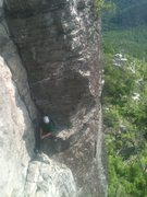 Rock Climbing Photo: My buddy Ryan at the belay at the top of pitch 1. ...