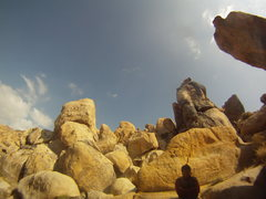 Rock Climbing Photo: Apple Valley, CA. Umbilical Cord 5.8 in the backgr...