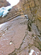 Rock Climbing Photo: Along the Arete nearing the start of the ice.