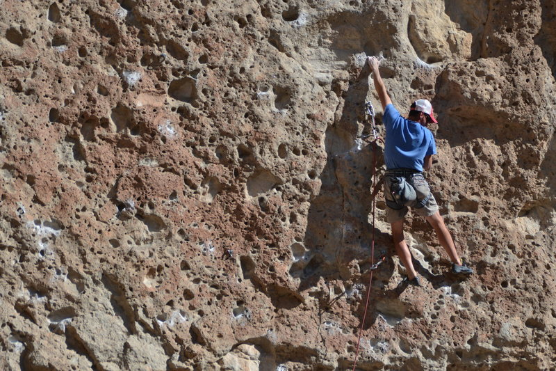 Rock Climbing Photo: Ricky in the mid-section moves of Grendel