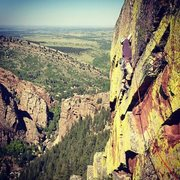 Rock Climbing Photo: Mike leading pitch four of Heavy weather on a glor...