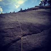Rock Climbing Photo: Looking up the first pitch of Two Jews Blues.