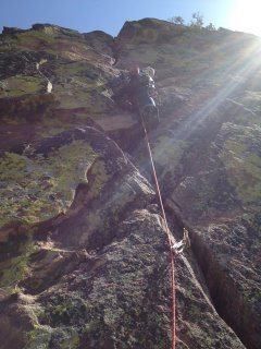 Rock Climbing Photo: Me leading the third pitch of Heavy Weather..
