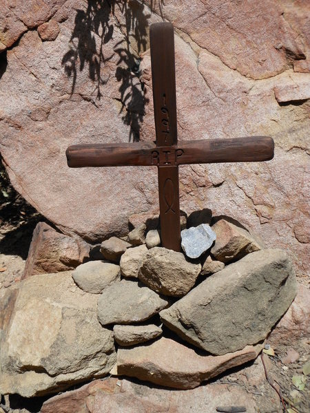 Rock Climbing Photo: A cross erected at the base of the slab, to honor ...