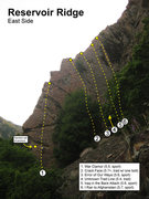 Rock Climbing Photo: Approximate location of the routes on the east sid...