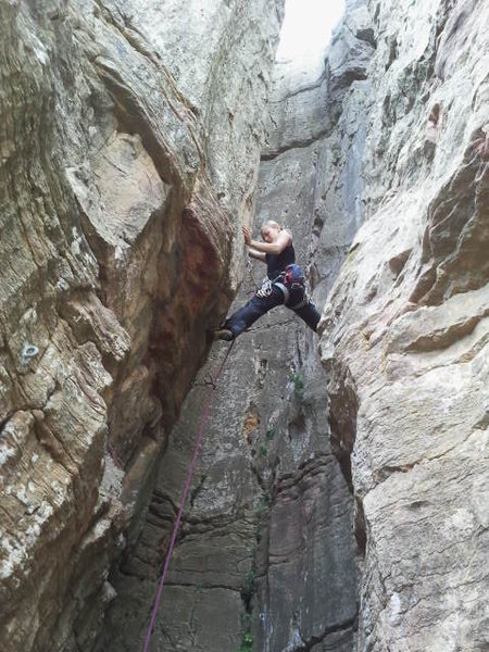 Rock Climbing Photo: Fanny in the beginning of the route.