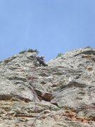 Rock Climbing Photo: Fanny finishing up.