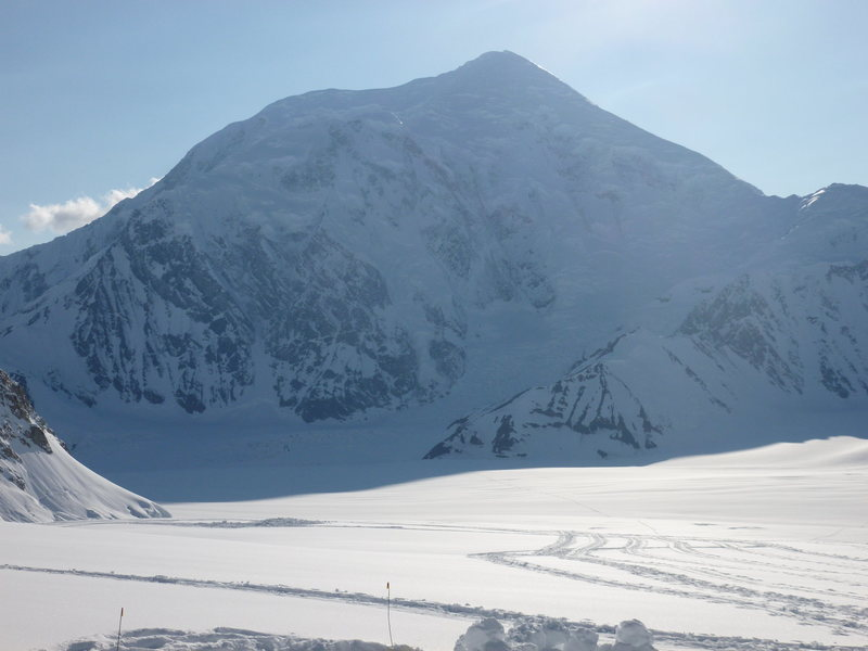 A view down the southeast fork of the Kahiltna Glacier, Mt. Foraker in plain view.