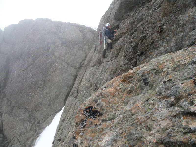 Daniel negotiating a rock traverse.  Photo courtesy of Brian.