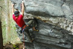 Rock Climbing Photo: Eric Singleton on the opening moves of Tree-hugger...