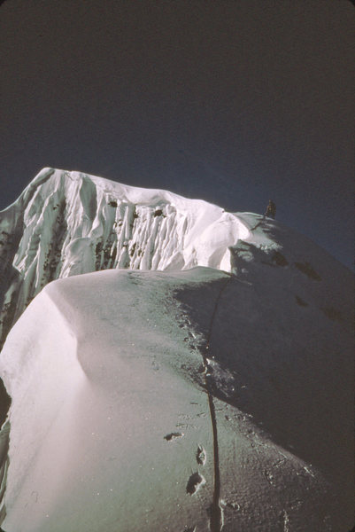 Dave Koch nearing the summit 1984 via north Face route.