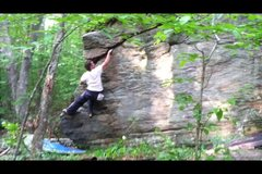 Rock Climbing Photo: Working off block and into the hand crack.