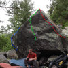 The Glory or Die Boulder, Monumental is the Blue line.