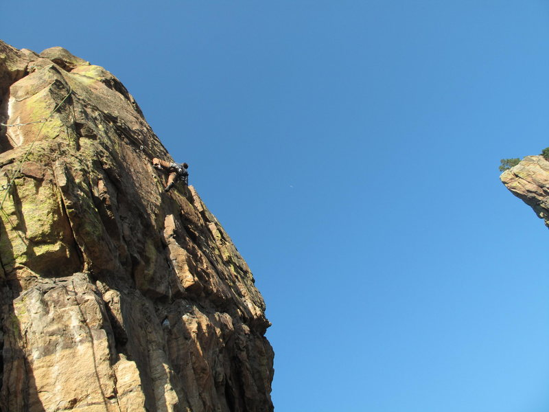 The view from the belay at the base of Wide Country's third pitch.  Eric Johnson on the FA.