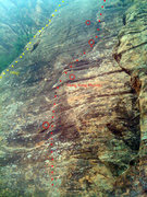 Rock Climbing Photo: Yellow: Second half of Miagi Red: First half of Ho...