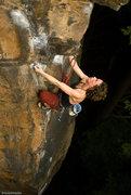 Rock Climbing Photo: Jess in the lower mini-crux. Photo:Dan Brayack