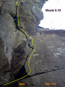 "Rock Climbing Photo: Topo when started from ""Back Crack"""