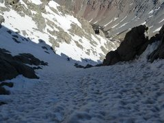 Rock Climbing Photo: Booting up the NW couloir on El Diente Photo:Abe