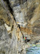 Rock Climbing Photo: The overhanging second pitch.