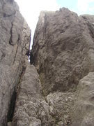 Rock Climbing Photo: Start in a sandy pit below a large corridor betwee...