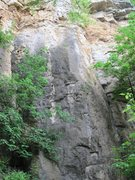 Rock Climbing Photo: Climb the blunt arete in this picture, there is ch...