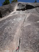 Rock Climbing Photo: Looking up to pitch 5 - including the 'Mantel' mov...