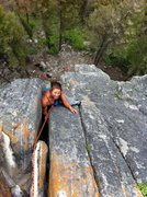 Rock Climbing Photo: Lena Topping out on Orange Crack
