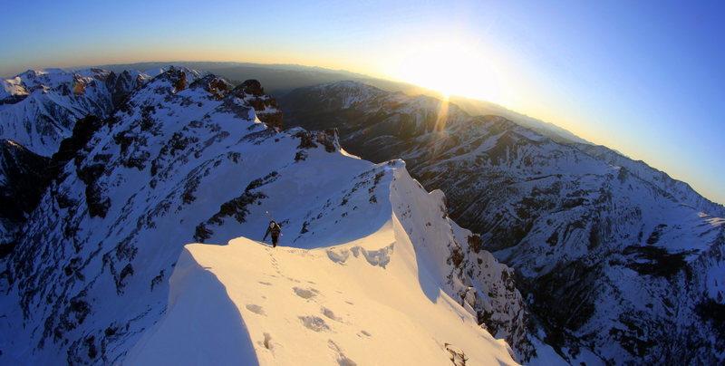 working up the NE ridge on Pyramid<br> photo copyright Jordan White