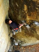 Rock Climbing Photo: Jessica Hoffmann gearing up the traverse to Wham B...