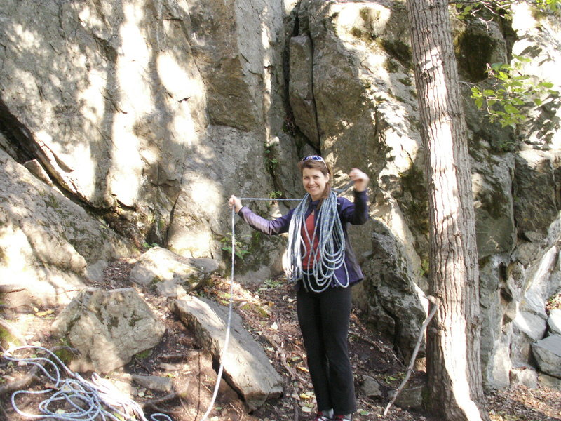 Rock Climbing Photo: Lea standing at Lower Crack in the Woods