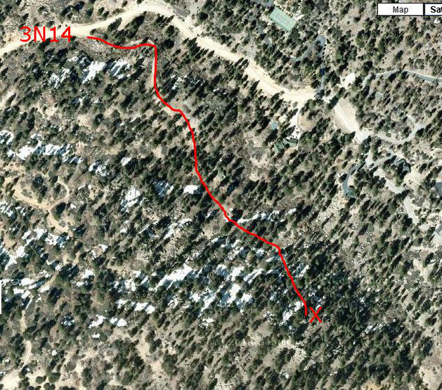 Google map view of approach.  We used &quot;Hidden Treasures East&quot; book by Singer and it incorrectly says to head &quot;west&quot; after wooden bridge, it should say &quot;south east toward lake following trail&quot;.  Pull out is .2 miles past end of paved road. GPS from a photo is:   34 deg 16' 0.60&quot; N, 116 deg 56' 51.60&quot; W<br>