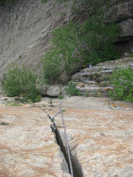 Rock Climbing Photo: Looking down from partway up the first pitch.