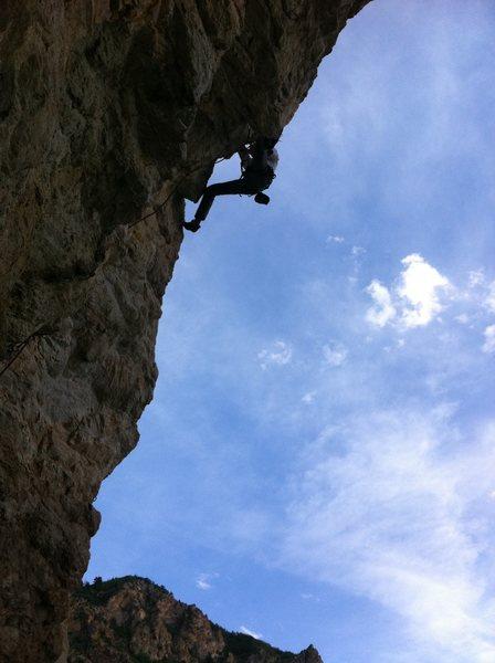 Rock Climbing Photo: Caleb at the crux