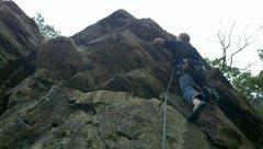 Rock Climbing Photo: Caleb at the last bolt